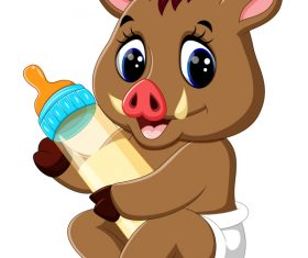 Cartoon animal with a bottle of milk vector image 20
