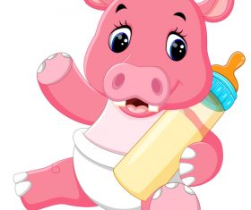 Cartoon animal with a bottle of milk vector image 22