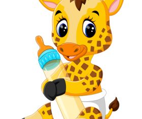Cartoon animal with a bottle of milk vector image 23