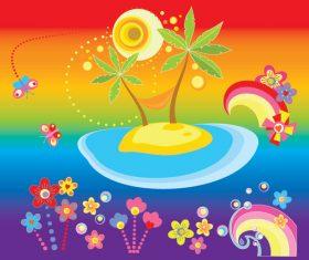 Cartoon beach vector