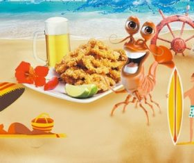 Cartoon beach and food vector
