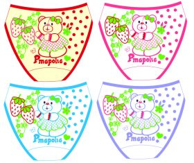 Cartoon bear baby panties vector