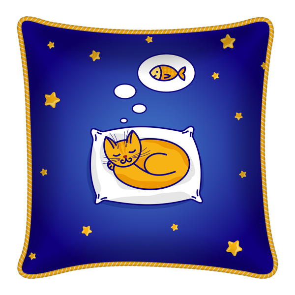 Cartoon cat with pillow template vector