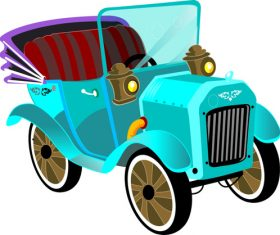 Cartoon digital printing classic car vector