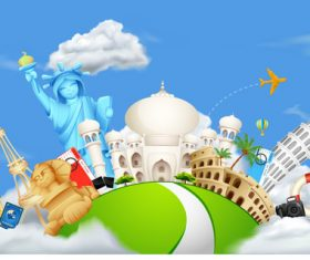 Cartoon digital printing travel vector