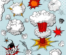 Cartoon explosion effect speech bubbles vector