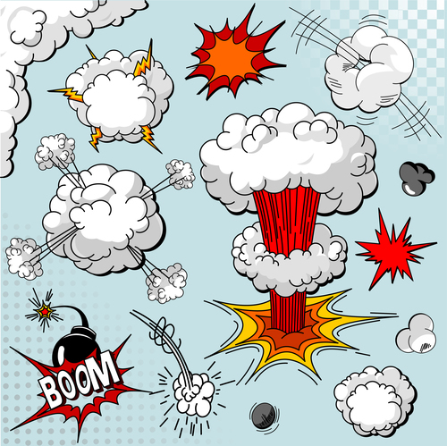 Cartoon explosion effect speech bubbles vector