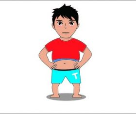 Cartoon fat boy vector