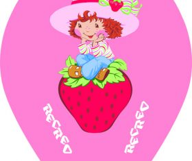 Cartoon girl and strawberry vector