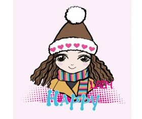 Cartoon girl wearing warm hat vector