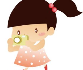 Cartoon little girl holding camera vector