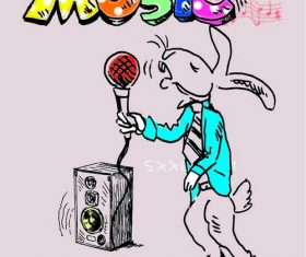 Cartoon little mouse singing vector