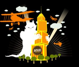 Cartoon monster and airplane vector