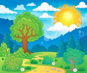 Cartoon natural landscape vector