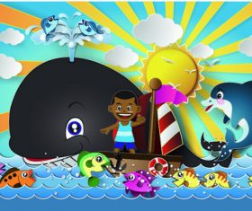 Cartoon nautical children and fish vector