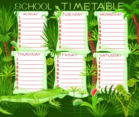 Cartoon school class schedule template vector 01