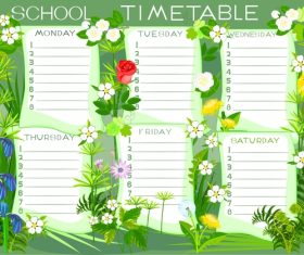 Cartoon school class schedule template vector 02