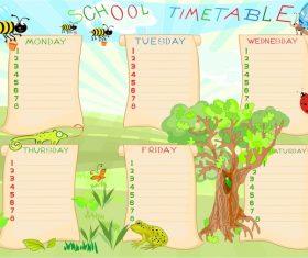 Cartoon school class schedule template vector 03