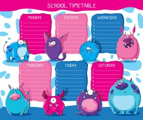 Cartoon school class schedule template vector 04