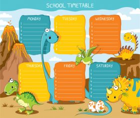Cartoon school class schedule template vector 05