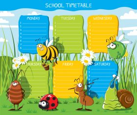 Cartoon school class schedule template vector 06