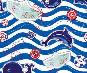 Cartoon sea seamless pattern vector