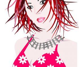 Cartoon woman material vector