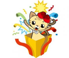 Cat in the box vector