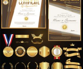 Certificate badges labels shields and laurels vector kits 01