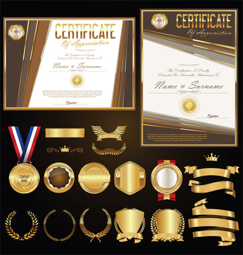 Certificate badges labels shields and laurels vector kits 01