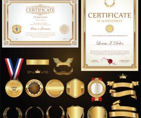 Certificate badges labels shields and laurels vector kits 02