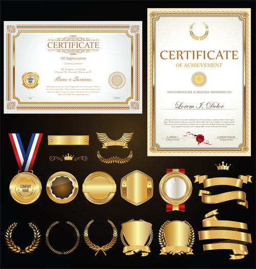 Certificate badges labels shields and laurels vector kits 02