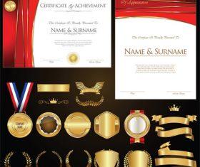 Certificate badges labels shields and laurels vector kits 03