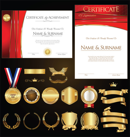 Certificate badges labels shields and laurels vector kits 03