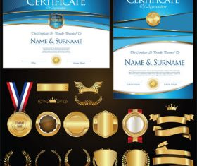 Certificate badges labels shields and laurels vector kits 04