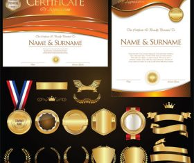 Certificate badges labels shields and laurels vector kits 05