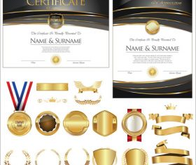 Certificate badges labels shields and laurels vector kits 06