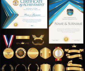 Certificate badges labels shields and laurels vector kits 07