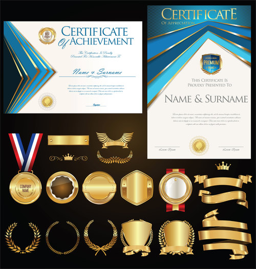 Certificate badges labels shields and laurels vector kits 07