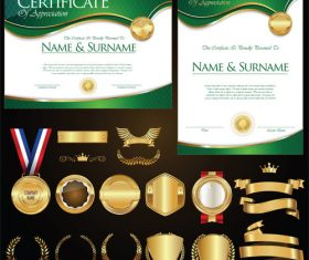Certificate badges labels shields and laurels vector kits 08