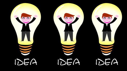 Characters and light bulbs vector
