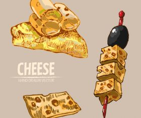 Cheese food hand drawing vectors 01