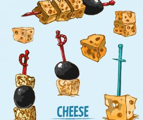 Cheese food hand drawing vectors 02