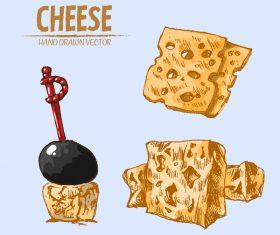 Cheese food hand drawing vectors 03