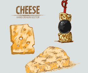 Cheese food hand drawing vectors 04