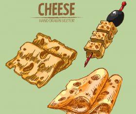 Cheese food hand drawing vectors 05