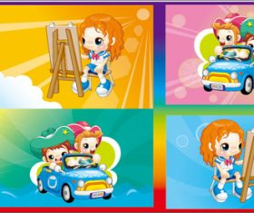 Children driving and painting vector