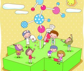 Children playing cartoon character vector