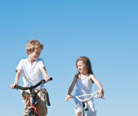 Children riding bicycles Stock Photo 01