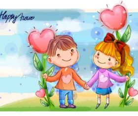 Childrens hand in hand vector